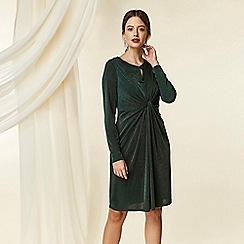 Wallis - Petite green slinky twist shift dress