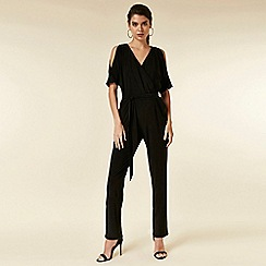 Wallis - Petite black twist front jumpsuit