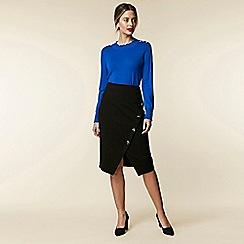 Wallis - Petite black button split midi skirt c69352679