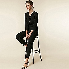 Wallis - Petite black utility jumpsuit