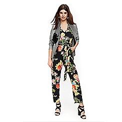 Wallis - Petite v-neck floral jumpsuit