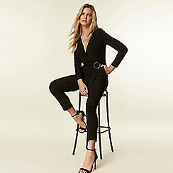 Wallis - Black ring wrap jumpsuit