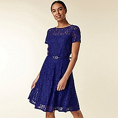 Wallis - Blue lace belted fit and flare dress