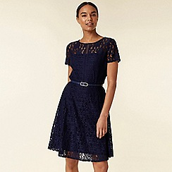 Wallis - Navy lace belted fit and flare dress