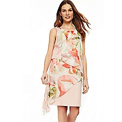 Wallis - Blush spring floral asymmetric shift dress