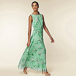 Wallis - Mint green floral pleated maxi dress