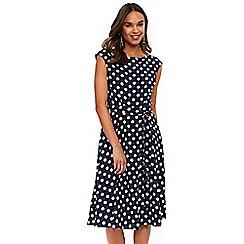 Wallis - Ink midi spot fit and flare dress
