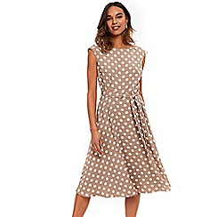 Wallis - Taupe midi spot fit and flare dress