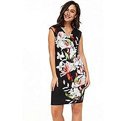 Wallis - Black spring lily shift dress