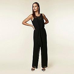 Wallis - Black pleat sleeveless jumpsuit