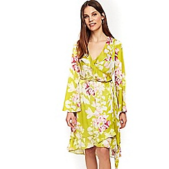 Wallis - Yellow floral ruffle wrap dress