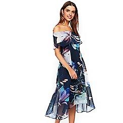 Wallis - Navy lily print bardot midi dress