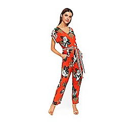 Wallis - Red tropical palm print jumpsuit