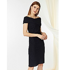 Wallis - Navy twist bardot dress