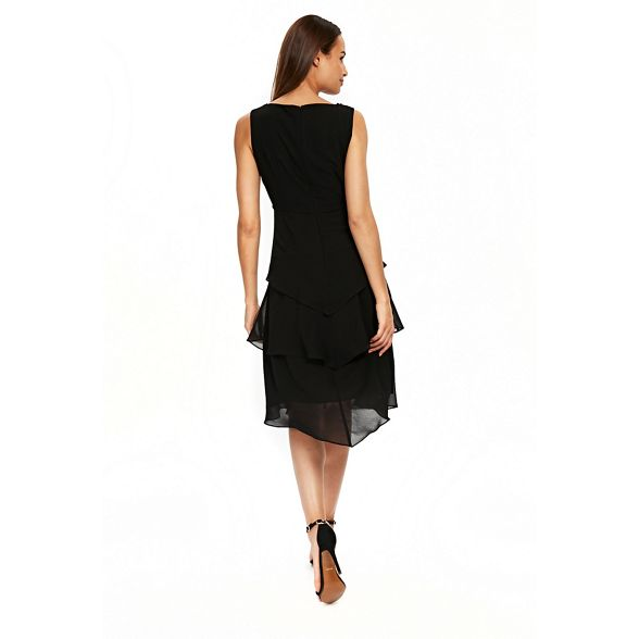 embellished tiered pearl Black overlay dress Wallis zf0Hwq15