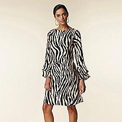 Wallis - Zebra double flute sleeve dress