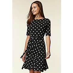 Wallis - Black halo spot fit and flare dress
