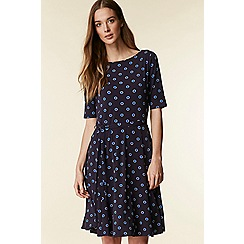 Wallis - Navy halo spot fit and flare dress