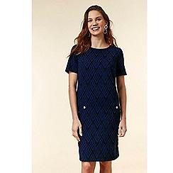 Wallis - Blue jacquard shift dress