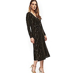 Wallis - Gold sparkle midi shift dress