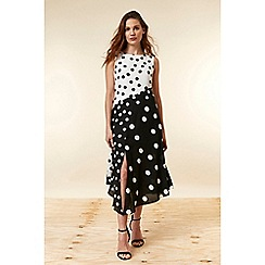 Wallis - Black Polka Dot Midi Skater Dress