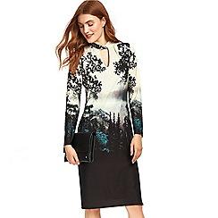 Wallis - Black printed jersey midi dress
