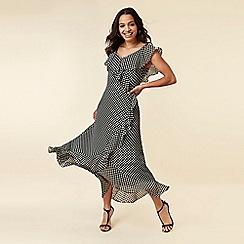 Wallis - Black Spot Ruffle Maxi Dress