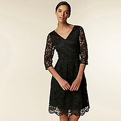 Wallis - Black Crochet Lace Fit and Flare Dress