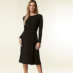 Wallis - Black cross front wrap midi dress