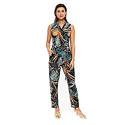 Wallis - Black tribal palm print jumpsuit