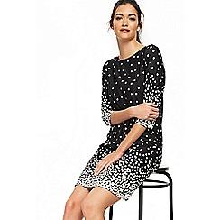 Wallis - Black polka dot graduated tunic dress
