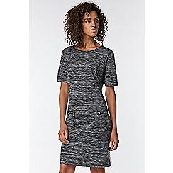 Wallis - Black tweed trim jacquard dress