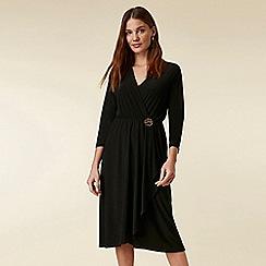 Wallis - Black wrap button dress