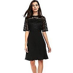 Wallis - Black lace appliqué fit and flare dress