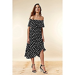 Wallis - Black Polka Dot Bardot Dress