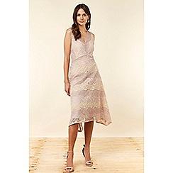 Wallis - Blush Lace Hanky Hem Dress