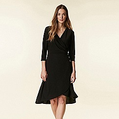 Wallis - Black wrap fit and flare dress