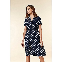 Wallis - Navy spot shirt dress