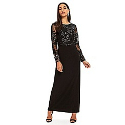 Wallis - Black sequin lace maxi dress