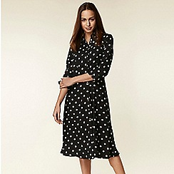 Wallis - Monochrome polka dot midi shirt dress