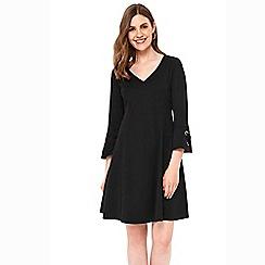 Wallis - Black eyelet fit and flare dress