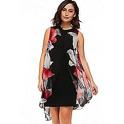 Wallis - Black rouge orchid split front dress
