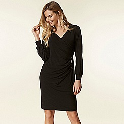 Wallis - Black button side wrap dress