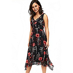 Wallis - Black poppu hanky hem dress