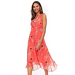 Wallis - Coral poppy hanky hem dress