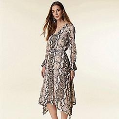 Wallis - Stone snake print hanky hem dress