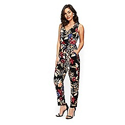 Wallis - Black floral print jumpsuit