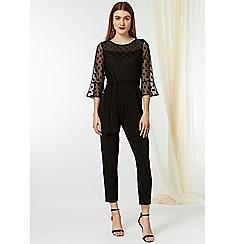 Wallis - Black spot mesh jumpsuit