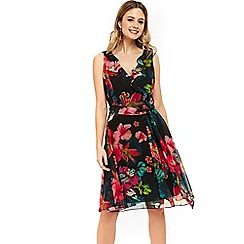 Wallis - Black tropical ruffle fit and flare dress
