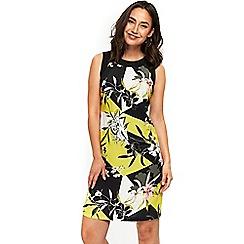 Wallis - Lime print blocked pinafore dress